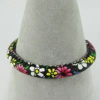 Floral Faux Leather Bracelet with Magnetic Clasp