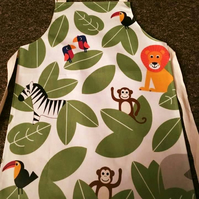 Child's Wipeable Jungle Animal Oilcloth Apron - Age 7-8 years