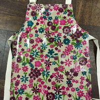 Child's Bright Floral Oilcloth Apron - Age 2-4 years