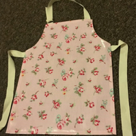Child's Wipe clean Pink Rosebud Floral Oilcloth Apron - Age 5-6 years