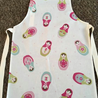 Child's Wipeable Russian Dolls Oilcloth Apron - Age 7-8 years