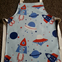Child's Wipeable Blue Rocket-Space Oilcloth Apron - Age 7-8 years