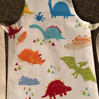 Child's Wipe clean Paintbox Dinosaur Oilcloth Apron - Age 5-6 years