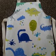 Kids Denim Dinosaur Oilcloth Aprons - Age 5-6 years