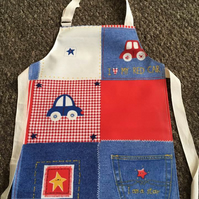 Child's Wipeable Jeans & Cars Oilcloth Apron - Age 2-4 years