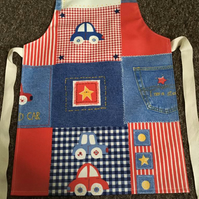 Child's Wipeable Jeans & Cars Oilcloth Apron - Age 5-6 years