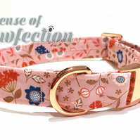 Rosehip Small size pink Dog Collar with Rose Gold Hardware