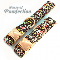 Spring Fling floral brown small Dog Collar with Rose Gold Hardware