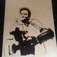 Handburned Pyrography Johnny Cash Silhouette Picture