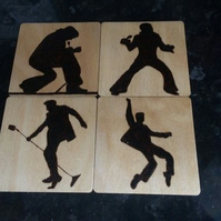 Handburned Pyrography Elvis Silhouette Coasters Set of 4