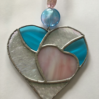 Turquoise and Pink Heart Stained Glass Decoration
