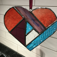 Red, Blue and Purple Heart Stained Glass Suncatcher