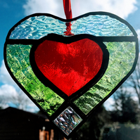 Heart Within a Heart Stained Glass Suncatcher