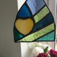 Stained Glass Suncatcher, Heart in a Green Shard, Window Decoration