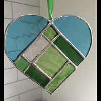 Blue and Green Stained Glass Heart