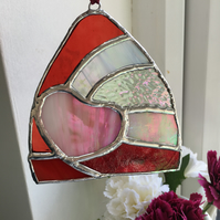 Stained Glass Suncatcher,  Pink Heart in a Red Shard