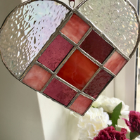 Red, Purple and Pink Glass Heart Window Decoration