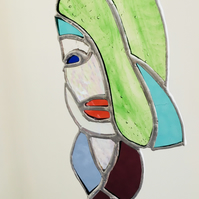 Stained Glass Suncatcher, Quirky, Kooky Lady, Hanging Decoration, Abstract