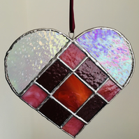 Stained Glass Heart Suncatcher, Pink, Red & Purple, Hanging Window Decoration