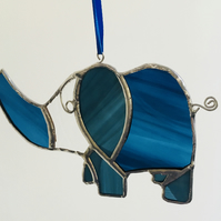 Stained Glass Suncatcher, Blue Elephant, Home Decor, Hanging Decoration