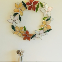 Stained Glass Floral Wreath, Yellow Orange Hanging Decoration