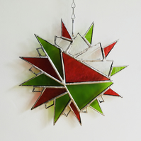 Stained Glass Suncatcher, Red and Green Hanging Star, Home Decor, Wall Art