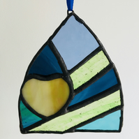 Stained Glass Suncatcher Heart in Green Blue Shard, Hanging Decoration