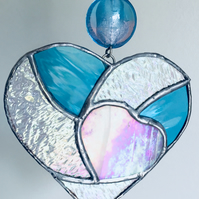 Hanging Heart, Stained Glass Suncatcher with  Beads, Turquoise and Pink Heart