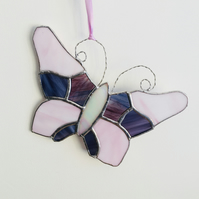 Stained Glass Butterfly Hanging Decoration, Pink Purple Glass Gift