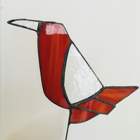 Stained glass opaque red garden bird, plant pot ornament