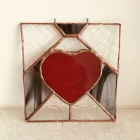 Stained Glass Hanging Heart Suncatcher in Red, Black and Clear Textured Glass