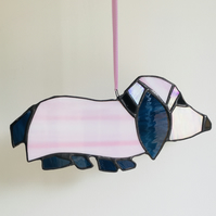 Sausage Dog Suncatcher, Pink and Dark Blue Hanging Decoration