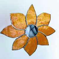 Stained Glass Large Orange Flower Suncatcher, Hanging Sunflower Decoration