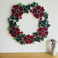 Red Poppy and Dark Green Ivy Stained Glass Floral Wreath