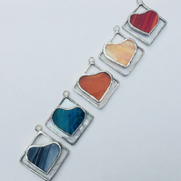 Set of 5 Modern Christmas Baubles, Colourful Stained Glass Hearts on Squares