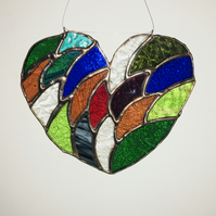 Multi-coloured Rainbow Stained Glass Heart Suncatcher