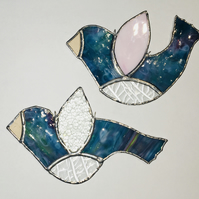 Stained Glass Blue Birds Shimmering Christmas Decoration or Gift