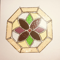 Stained Glass Flower Octagon Multi-coloured