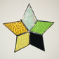 Stained Glass Christmas Star with yellow blends. Multi-coloured Ref MCS2