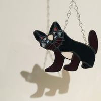 Stained Glass Black And Dark Red Cat Suncatcher