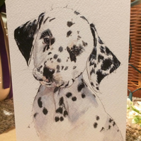 Dalmatian Blank Hand painted Animal Print Cards