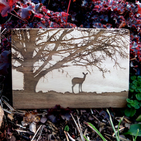Laser Engraved Wooden Plaque - The Lone Deer