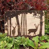 Laser Engraved Wooden Plaque - Stag in the Forest