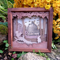 Wooden 3D Laser Cut Picture - Bees and Beehive