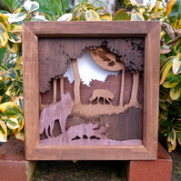 Wooden 3D Laser Cut Picture - Wolves in Woodland