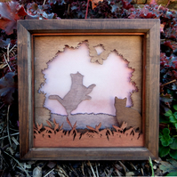 Wooden 3D Laser Cut Picture -  Cats in the Garden