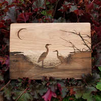 Laser Engraved Wooden Plaque - Herons