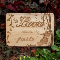 Laser Engraved Wooden Plaque - Love