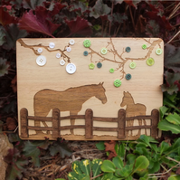 Laser Engraved Wooden Plaque - Horse and Foal