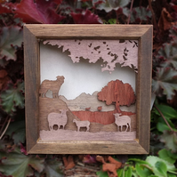 Wooden 3D Laser Cut Picture - Watching the Flock